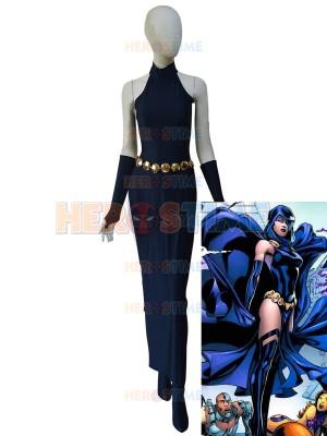 Vestido Azul Marino de Spandex de Raven de DC Comics Cosplay