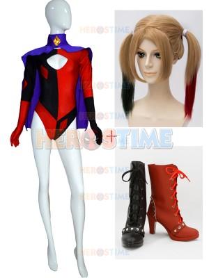 Traje Completo de Harley Quinn Super Villana Cosplay