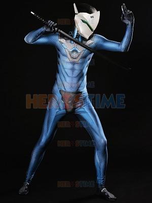 Overwatch  Traje Azul de Carbon Fiber Genji Cosplay