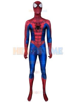 Traje clásico de Spider-Man con correas de pintura de hojaldre y araña de cuero
