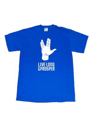 Camiseta de Star Trek con palabras de Live Long and Prosper