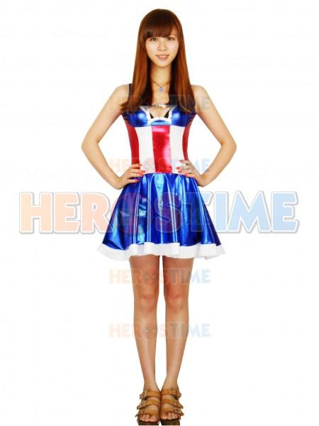 Vestido De Superhéroe Capitán América Para Mujeres