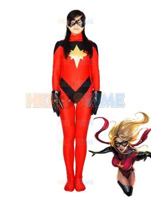 Traje Rojo de superheroína MsMarvel de Spandex